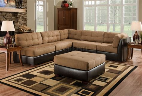 camel faux leather sofa camel fabric sectional sofa w dark brown faux leather base