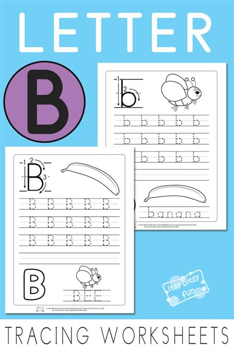 letter b tracing worksheets itsy bitsy