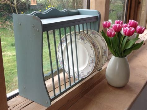 sold   wooden plate rack painted  duck egg