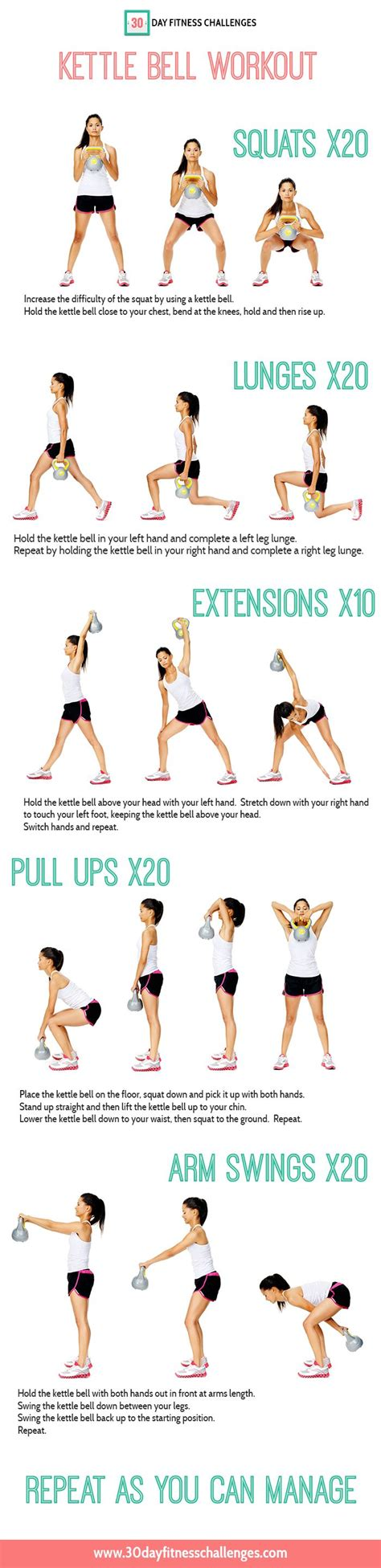 kettlebell workout kettle bell exercises workouts fitness chart challenge cardio abs exercise training challenges body motivation arms fat printable weight