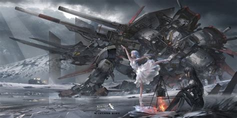 wallpaper mecha sci fi anime girls dancing fire