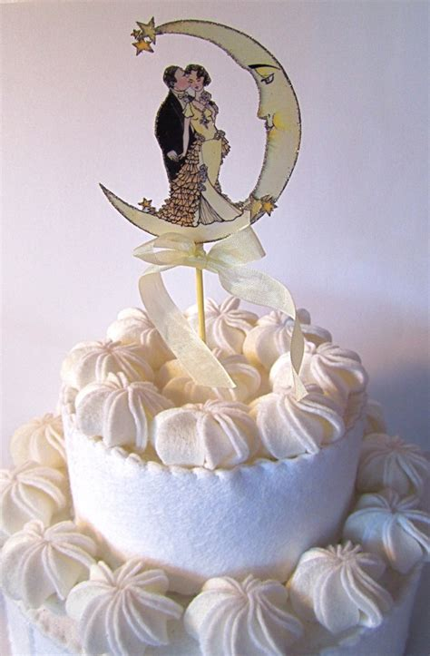 Vintage Moon Wedding Cake Topper Small Size Art Deco