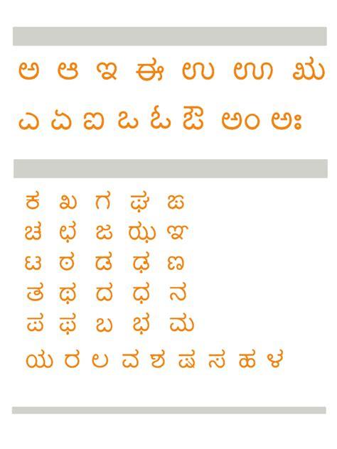 kannada alphabet chart fillable printable