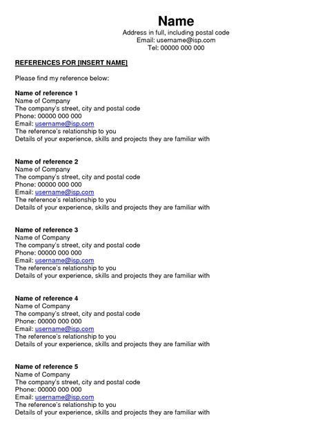 Reference Page Resume by Resume Reference Page Template Writingz Web Fc2