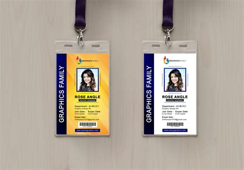 photoshop employee vertical id card design