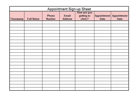 waiting list template appointment template excel ereads club