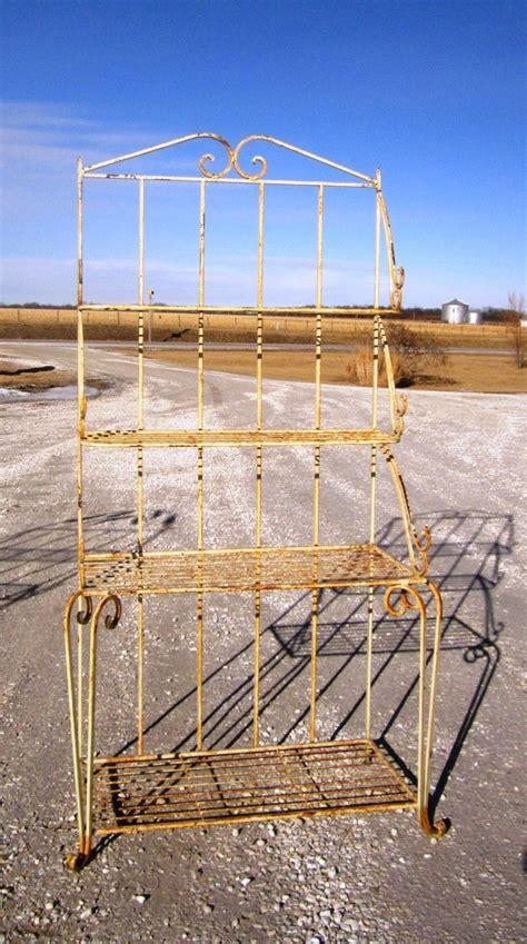 wrought iron large bakers rack metal shelving