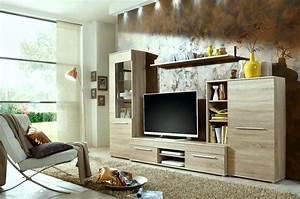 Tv Möbel Modern : wohnwand cannes in eiche sonoma inkl led beleuchtung ~ Sanjose-hotels-ca.com Haus und Dekorationen
