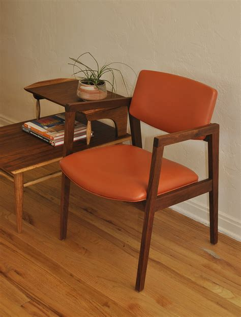 mid century orange and walnut office desk chair trevi
