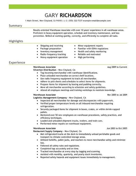 Warehouse Resume Objective by 13 Warehouse Worker Resume Exles Sle Resumes