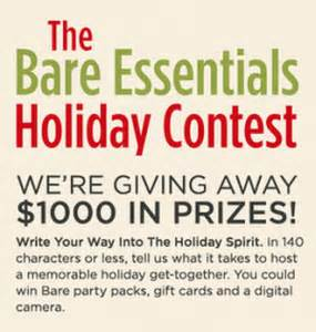 Reminder Enter the Bare Essentials Holiday Contest