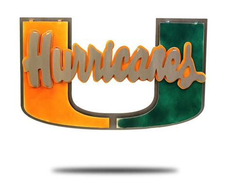 of miami hurricanes stainless steel artwork hex