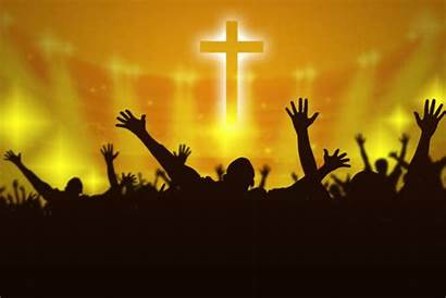Silhouette Jesus Praying Christian Praise God Raising