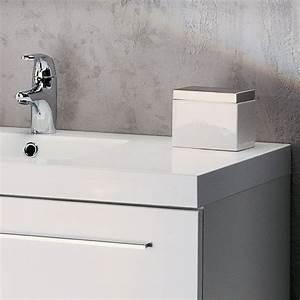 meuble vasque salle de bain sanijura horizon laque blanc With meuble salle de bain blanc laqué brillant
