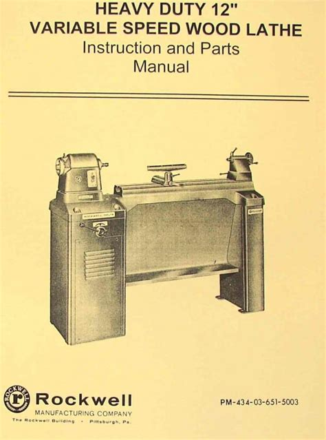 rockwell  newer style variable wood lathe manual