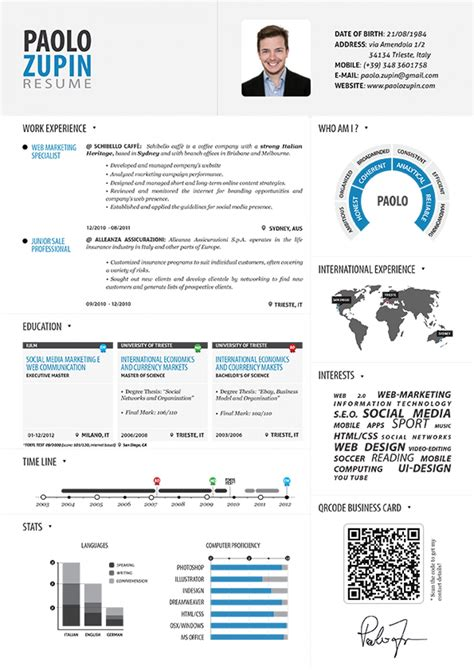 Free Infographic Resume Maker by Paolo Zupin Infographic Resume Visual Ly