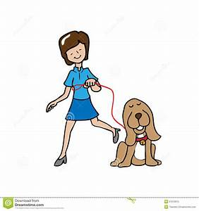 Woman walk the dog stock vector. Illustration of happiness ...