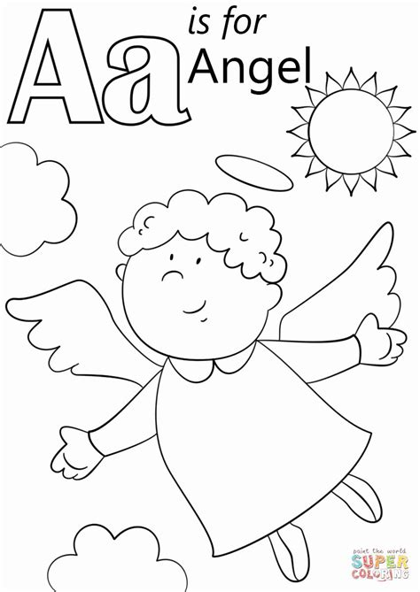 Letter A Coloring Sheet in 2020 Angel coloring pages