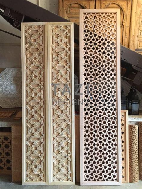 moroccan wood screens  carved door panels tazi designs