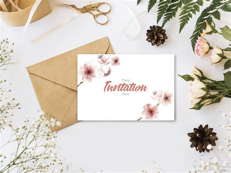 ✓ free for commercial use ✓ high quality images. Invitation Card with Flowers Mockup | Free Mockup
