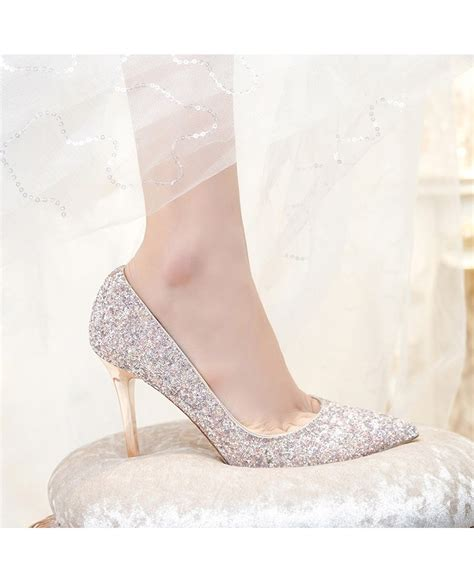 Wedding High Heels by Simple Sparkly Silver Wedding Shoes High Heels For Brides