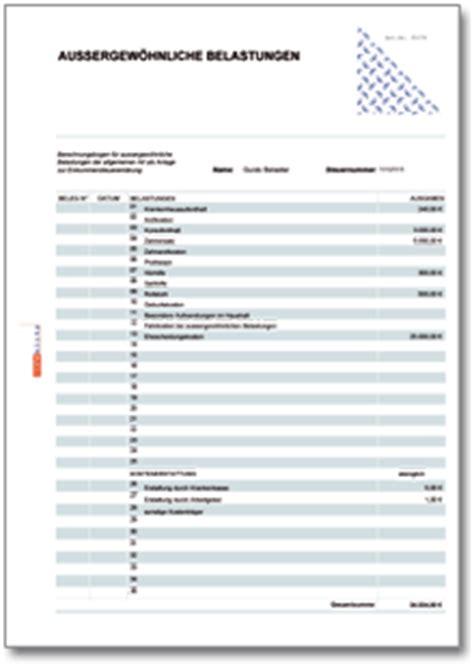 werbungskosten aussergewoehnliche belastungen