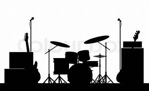 Silhouette of a rock bands equipment on stage isolated on ...