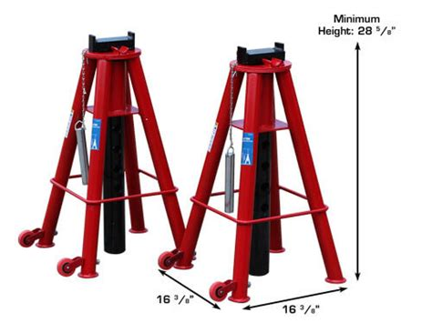 12 Ton Heavy Duty Jack Stands With Rolling Wheels (set Of 2