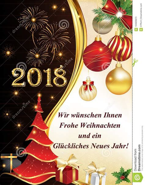 german greeting card we wish you a merry christmas and a happy new year 2018 stock