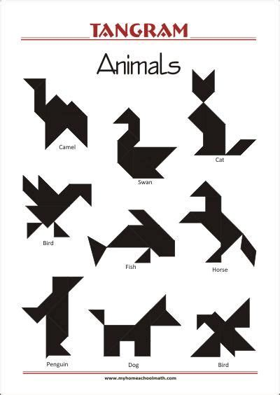 tangram animals worksheets  solutions   solve
