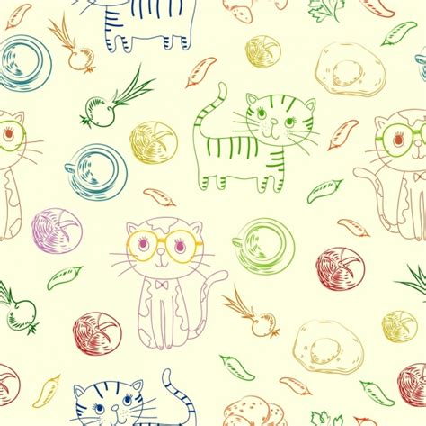 cats background multicolored handdrawn food icons