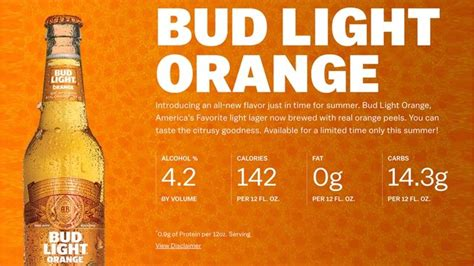 what s the content of bud light anheuser busch debuts summery new bud light orange fox news