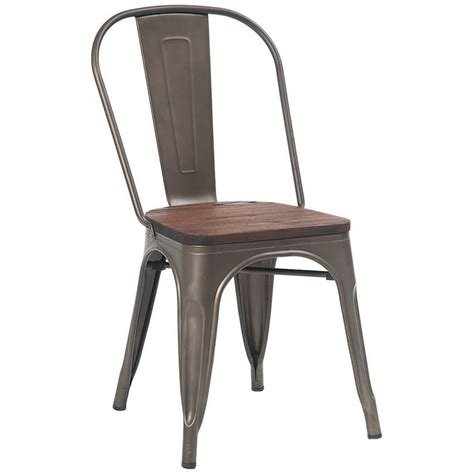 bistro style metal chair in grey finish and walnut