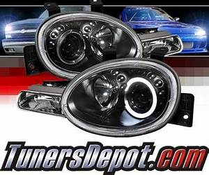 1998 Dodge Neon Sonar LED Halo Projector Headlights Black