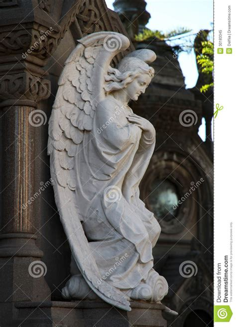 Angel Statue On A Cemetery Recoleta In Buenos Aires ...