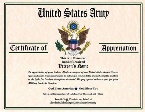 army appreciation certificate templates  docx