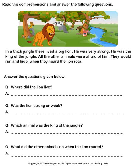 reading comprehension lion worksheet turtle diary