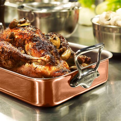 mauviel mheritage copper tri ply roasting pan   stick rack thermometer ebay
