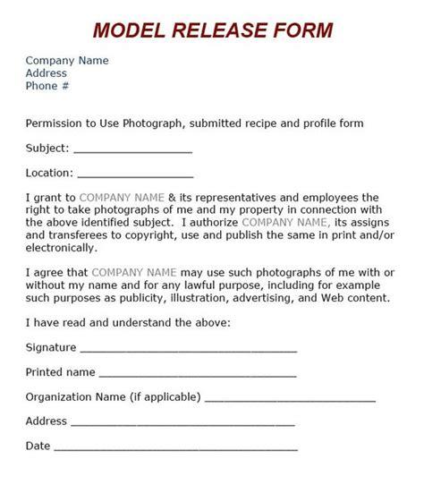 Standard Model Release Form Template by Model Release Form Photo Tips Models