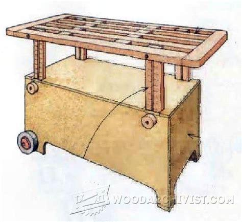 adjustable height worktable plans woodarchivist