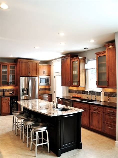 medium brown kitchen cabinets medium brown cabinets houzz 7421