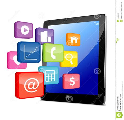 tablet pc  application icons royalty  stock