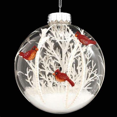 christmas tree ornament craft ideas cardinals scene with white tree glass ornament cardinals ornament and scene