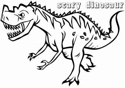 Dinosaur Coloring Scary Printable Dino Very Looking