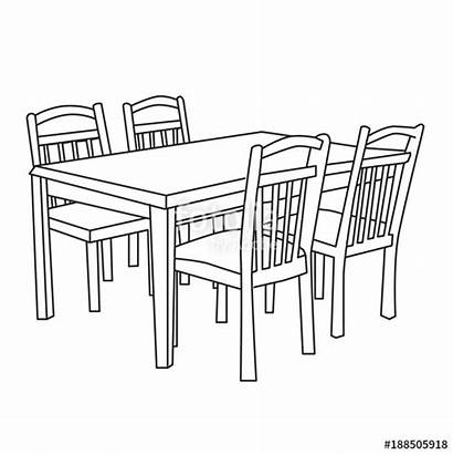 Table Dining Drawing Sketch Chairs Chair Sketches