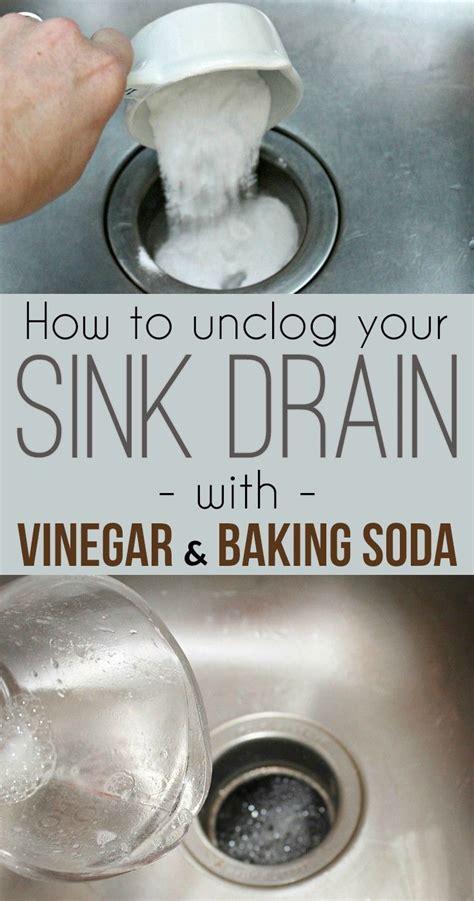 unclog  sink drain  baking soda  vinegar