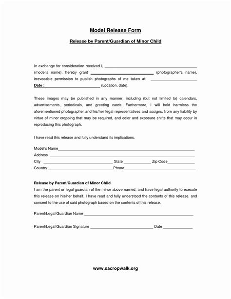 Standard Model Release Form Template by Standard Model For Children Archives Destinysoftworks