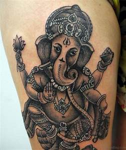 40 God Ganesha Tattoos On Thigh