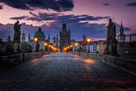 Charles Bridge In Prague Czech Republic Before Sunrise