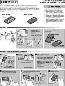 Craftsman Garage Door Opener Remote Manual Pdf